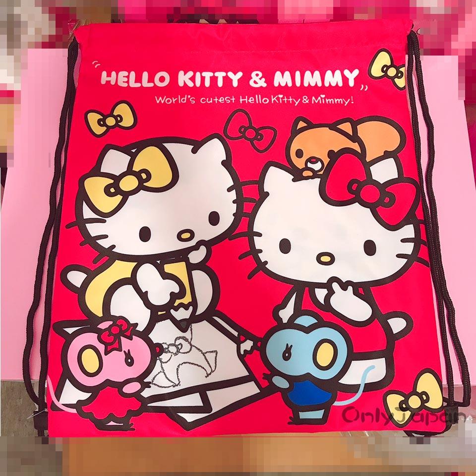 【真愛日本】18022600023 束口提袋後背袋-KT姊妹紅 三麗鷗 kitty 凱蒂貓 手提袋 束口後背包