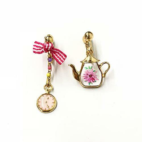(預購+現貨)下午茶時光。夾式耳環(螺旋夾)針式2色【2-17051】