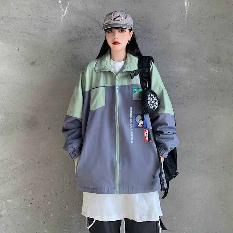 棒球服寬鬆女士外套 潮流女生外套 洋氣簡約女外套韓版外套 秋季撞色夾克外套 百搭時尚女生外套♠極有家♠