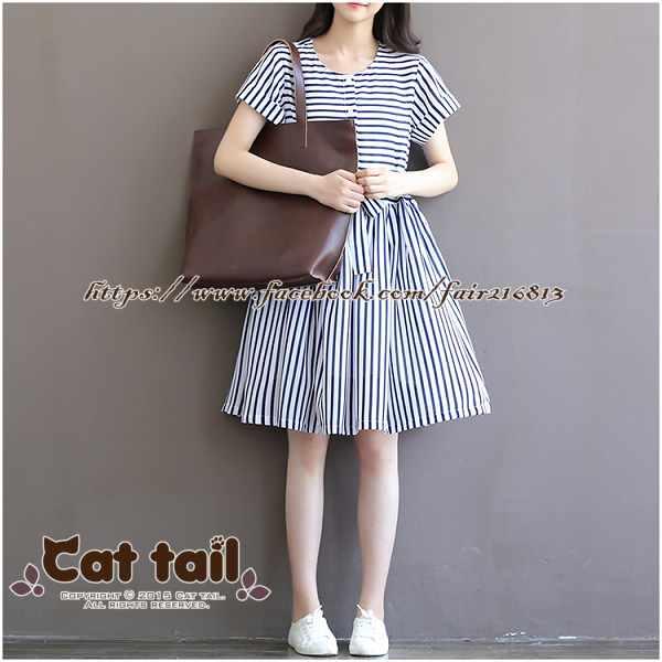《貓尾巴》TS-0565小清新甜美雪紡條紋短袖連身裙(森林系日系棉麻文青清新)