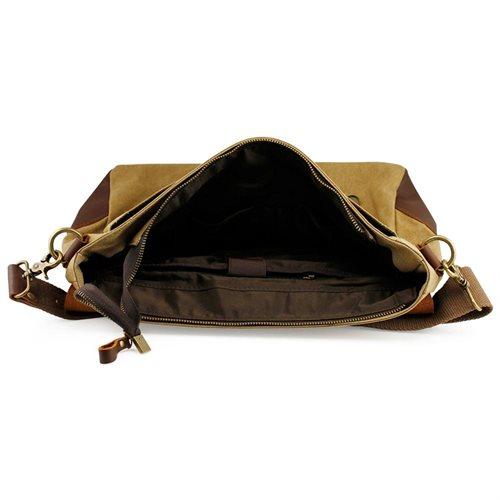 Men's Vintage Canvas Leather Satchel School Military Messenger Shoulder Bag Travel Bag - Khaki 3