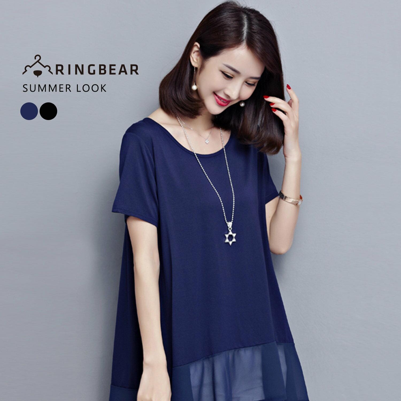 長版T恤--簡約率性舒適純色下擺拼接雪紡長版上衣(黑.藍XL-3L)-D270眼圈熊中大尺碼 0