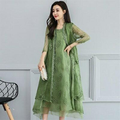 休閒套裝無袖洋裝(兩件套)-刺繡飄逸長款純色女裙裝73ri43【獨家進口】【米蘭精品】