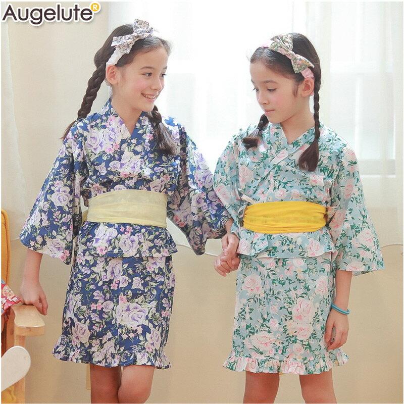Augelute 日式和風女童和服套裝 附腰帶 60250