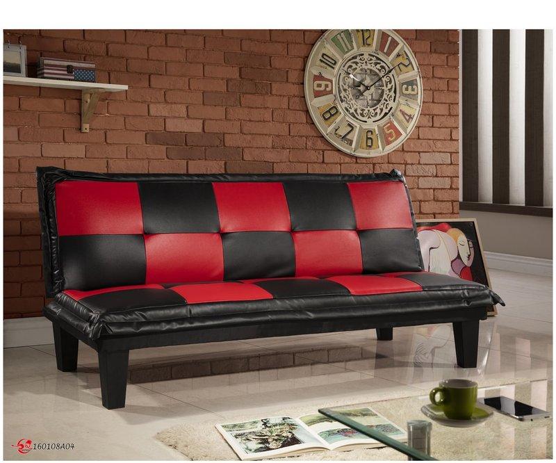 !!新生活家具!! 皮沙發床 黑色 紅色 沙發床 三人位沙發床 限時特價 五子棋 非 H&D ikea 宜家