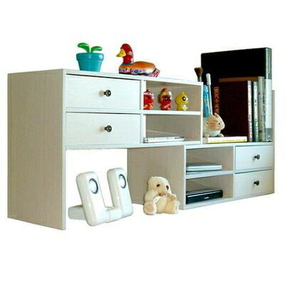 多用途書架《ACCESSCO》桌上型伸縮抽屜型置物櫃 (白橡木)