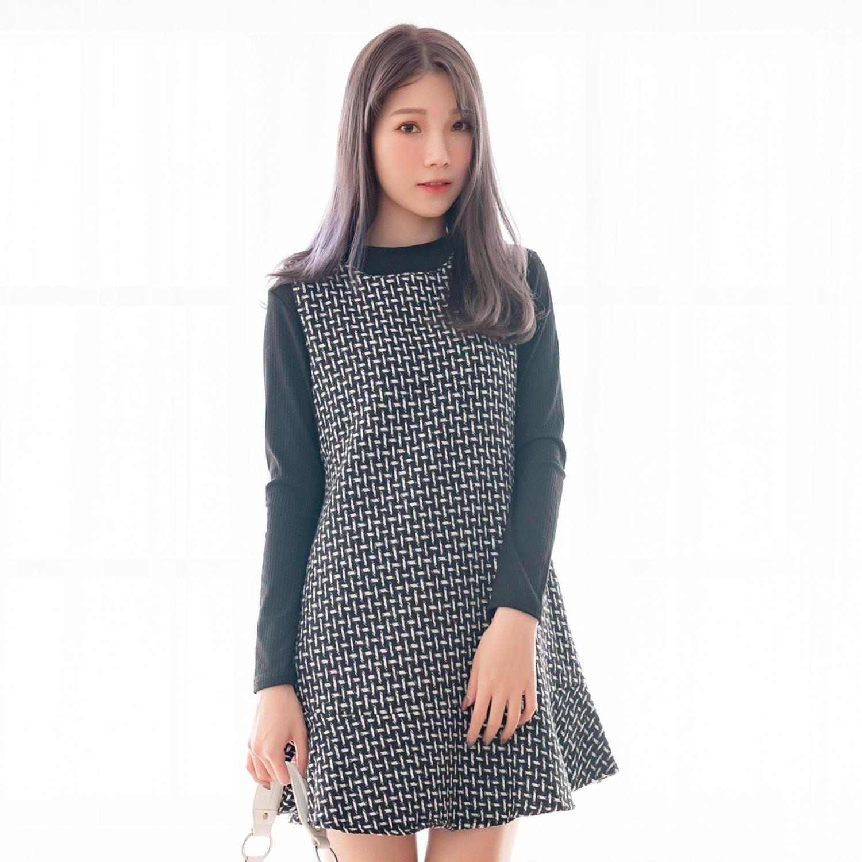 氣質洋裝--優雅編織撞色格紋A字荷葉裙針織毛呢真兩件連衣裙(黑L-3L)-A385眼圈熊中大尺碼 0