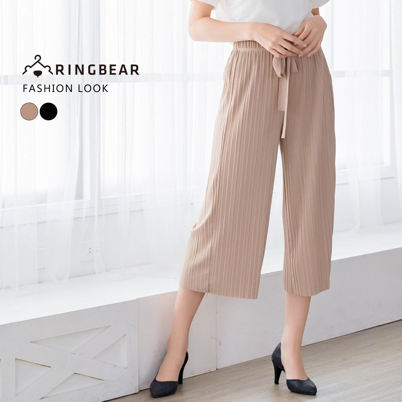 寬褲--簡約氣質寬版鬆緊綁帶褲頭彈性皺褶寬口七分褲(黑.卡其XL-4L)-S93眼圈熊中大尺碼 0