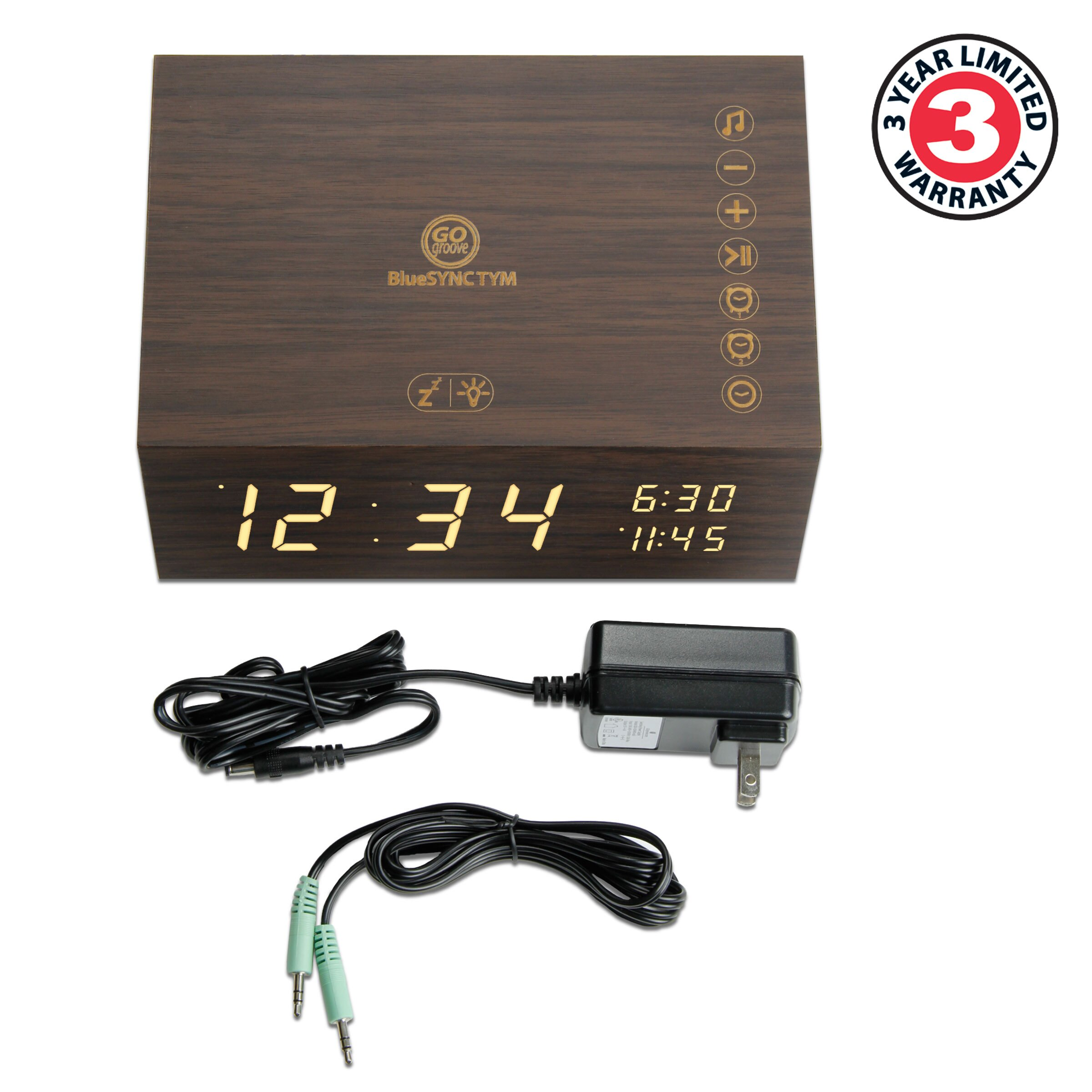 Bluetooth Alarm Clock Radio Speaker by GOgroove - Wood , FM Radio , Dual Alarms , USB Charging Ports 1