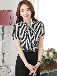 韓版雪紡蝴蝶結直條紋OL襯衫(黑白短袖)wcps21