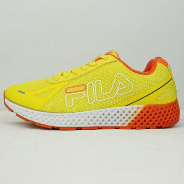 《限時特價799元》Shoestw【5J302Q666】FILA 慢跑鞋 網布 透氣 黃橘白 女生 1