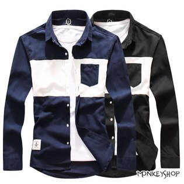 Monkey Shop:【BSN3806】時尚百搭款撞色拼接設計長袖襯衫-2色《MonkeyShop》