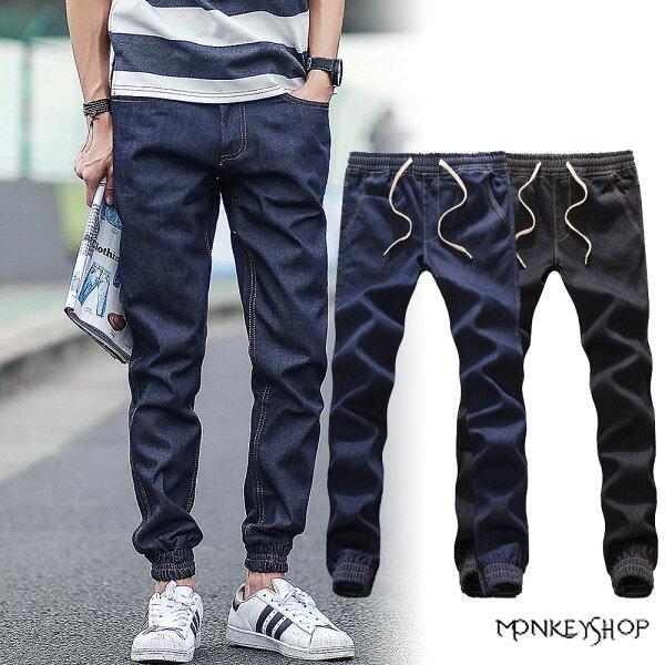 【BSN3808】保暖刷毛款單寧材質縮口牛仔長褲JOGGER PANT-2色 《Monkey Shop》