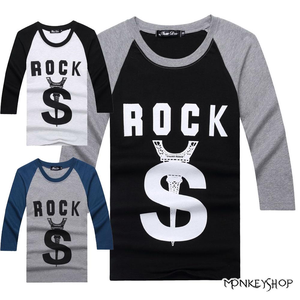 【A05098】美式休閒斜袖倒鐵塔字母印花七分袖上衣T恤-3色《Monkey Shop》
