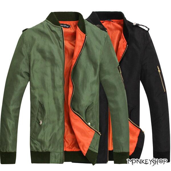 Monkey Shop:【BJK3840】個性實搭款軍裝式防風飛行夾克外套-2色《MonkeyShop》