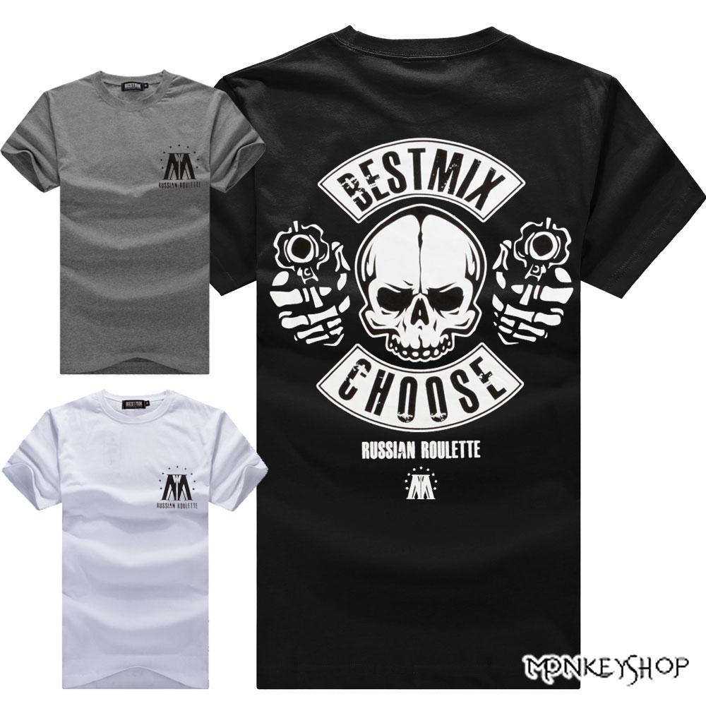 【BMT5476】MIT潮流款龐克骷髏槍手印花短袖T恤-3色《Monkey Shop》