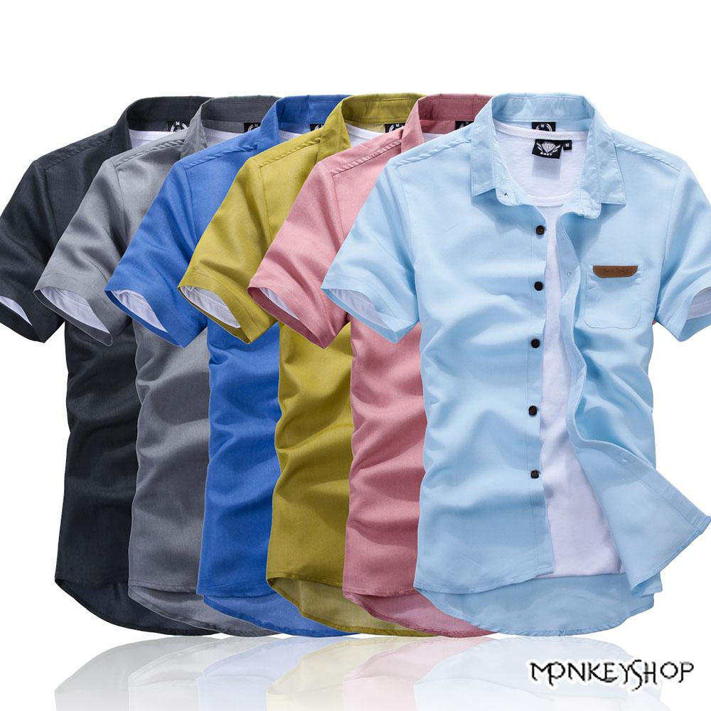 【BSN0006】韓系百搭皮標設計馬卡龍色系短袖襯衫-6色 《Monkey Shop》