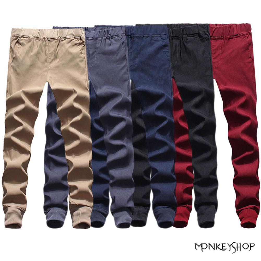 【BSN3845】潮流電繡口袋束口慢跑褲Jogger pants-5色 《Monkey Shop》