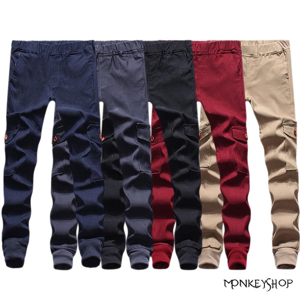 【BSN3846】超彈力雙側口袋束口慢跑褲Jogger pants-5色 《Monkey Shop》