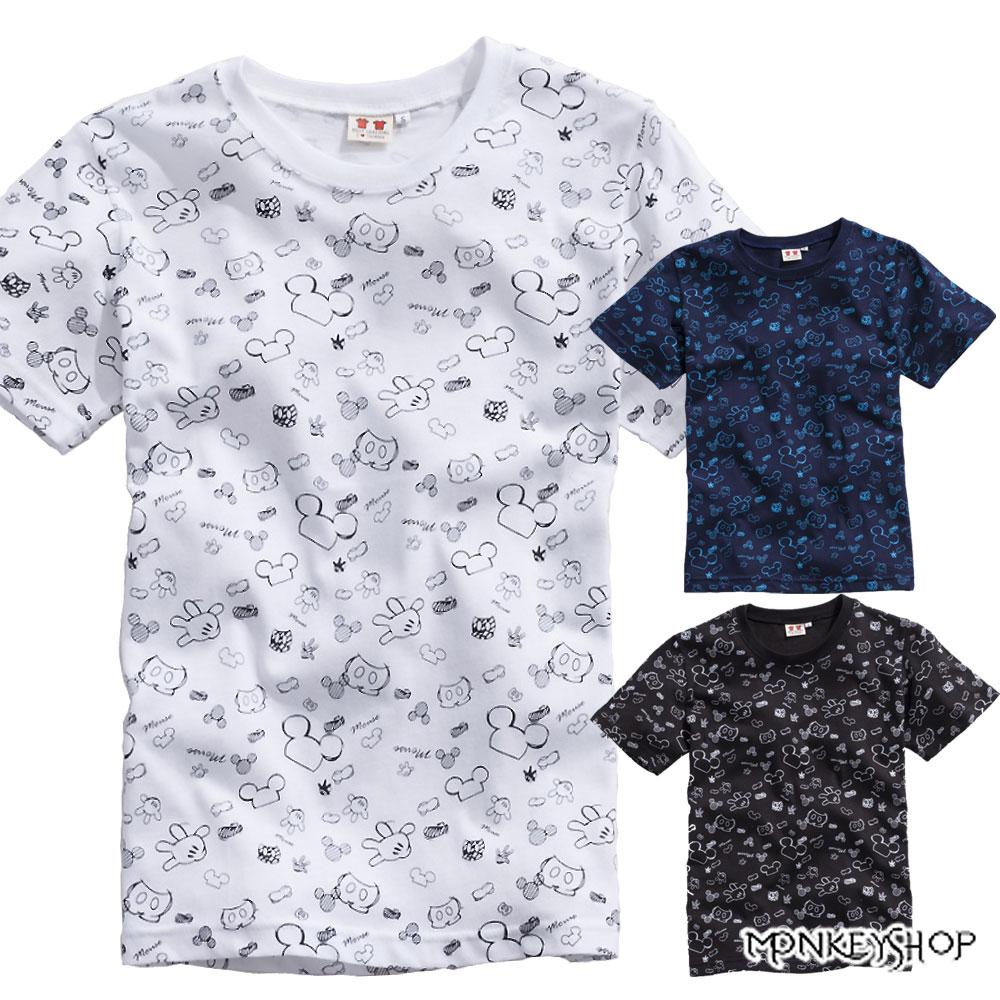【C1011】 MIT純棉男女情侶款滿版米奇手套潮流短袖T恤-3色《Monkey Shop》