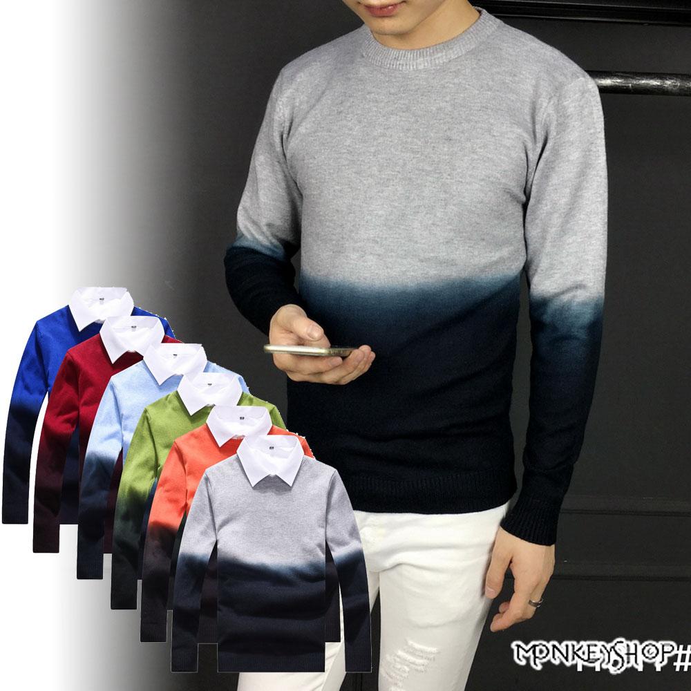 【M11811】時尚漸層款渲染圓領長袖針織衫毛衣-6色《Monkey Shop》
