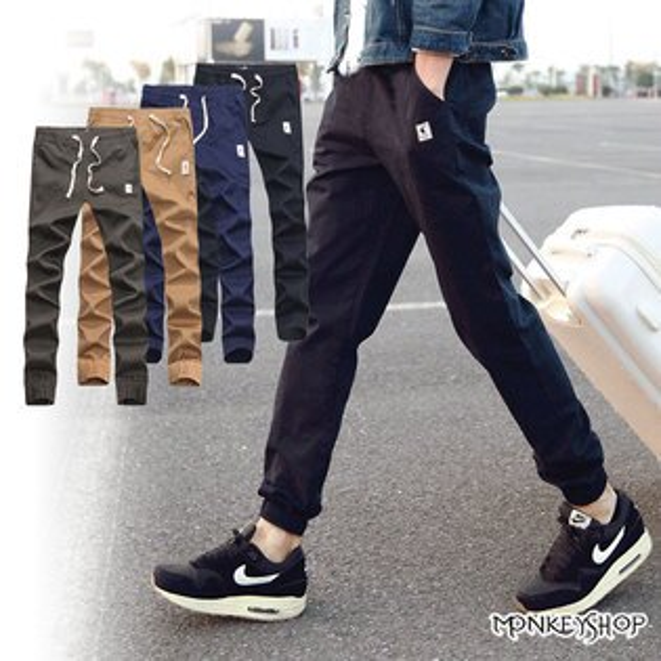 【M55562】側邊小標設計束口長褲慢跑褲Jogger Pants-4色《Monkey Shop》