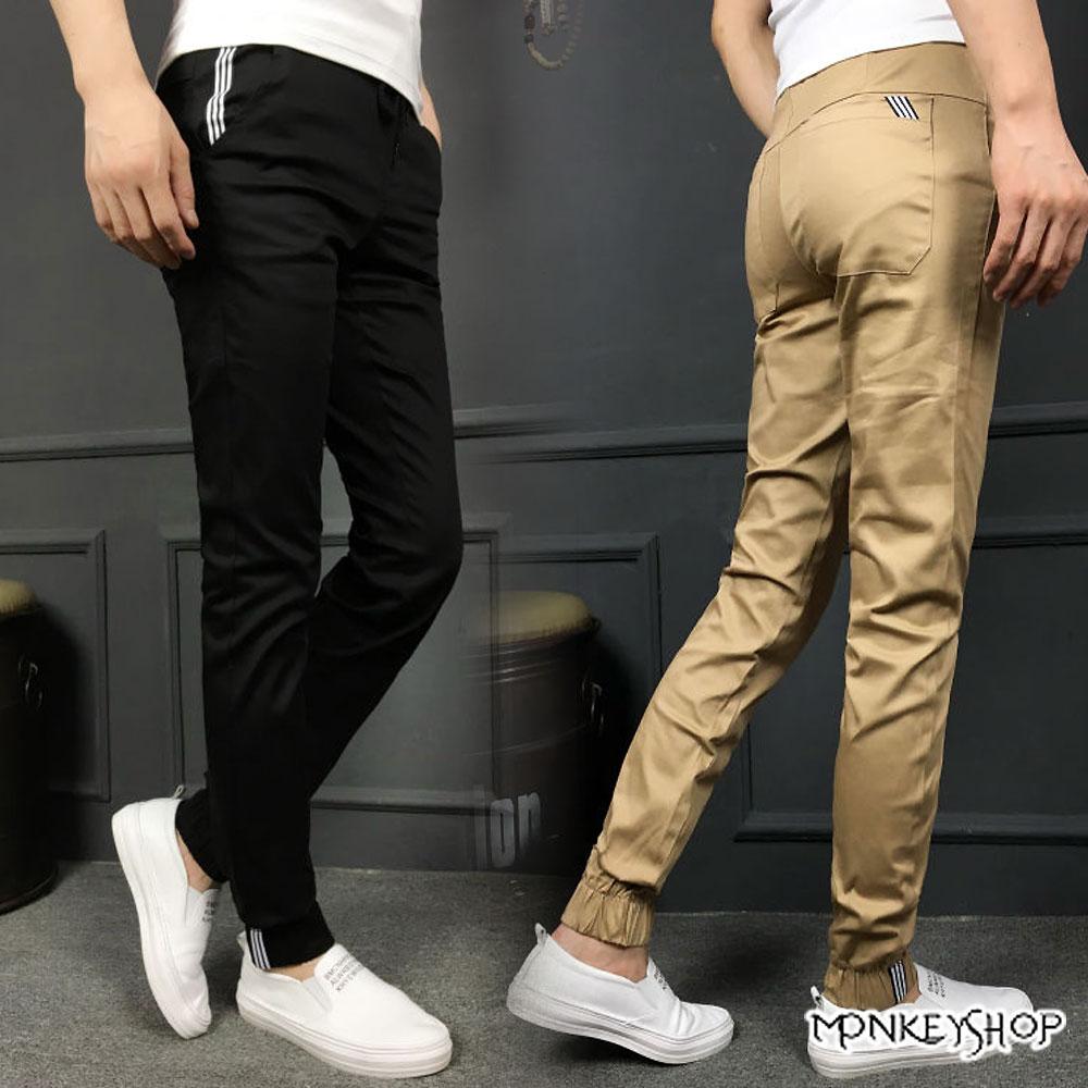 【M55591】抽繩腰圍休閒長褲 慢跑褲 束口褲 縮口長褲-3色 Jogger Pants《Monkey Shop》