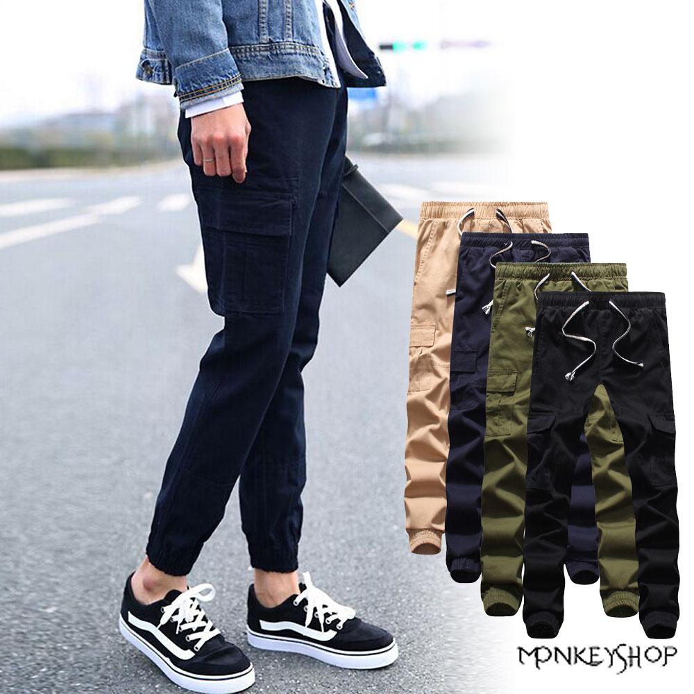 【MAA815】修身素面口袋工作休閒束口褲Jogger Pants-5色《Monkey Shop》