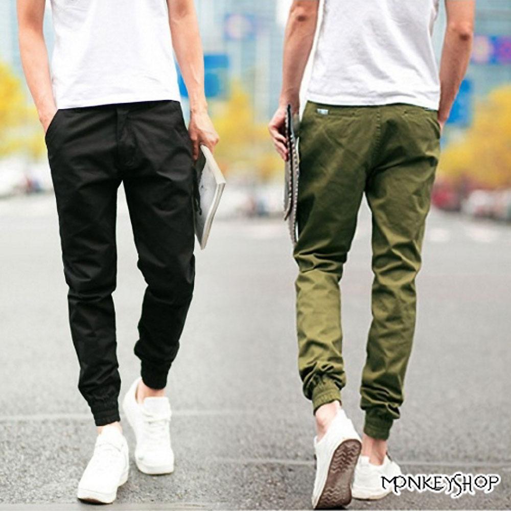【MMK31】素面皮標束口長褲慢跑褲Jogger Pants-5色 《Monkey Shop》