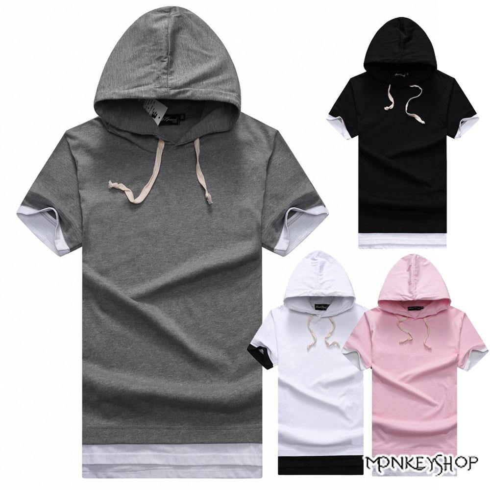 《Monkey Shop》【BJJ1735】MIT台灣製簡約開衩假兩件連帽短袖T恤-4色