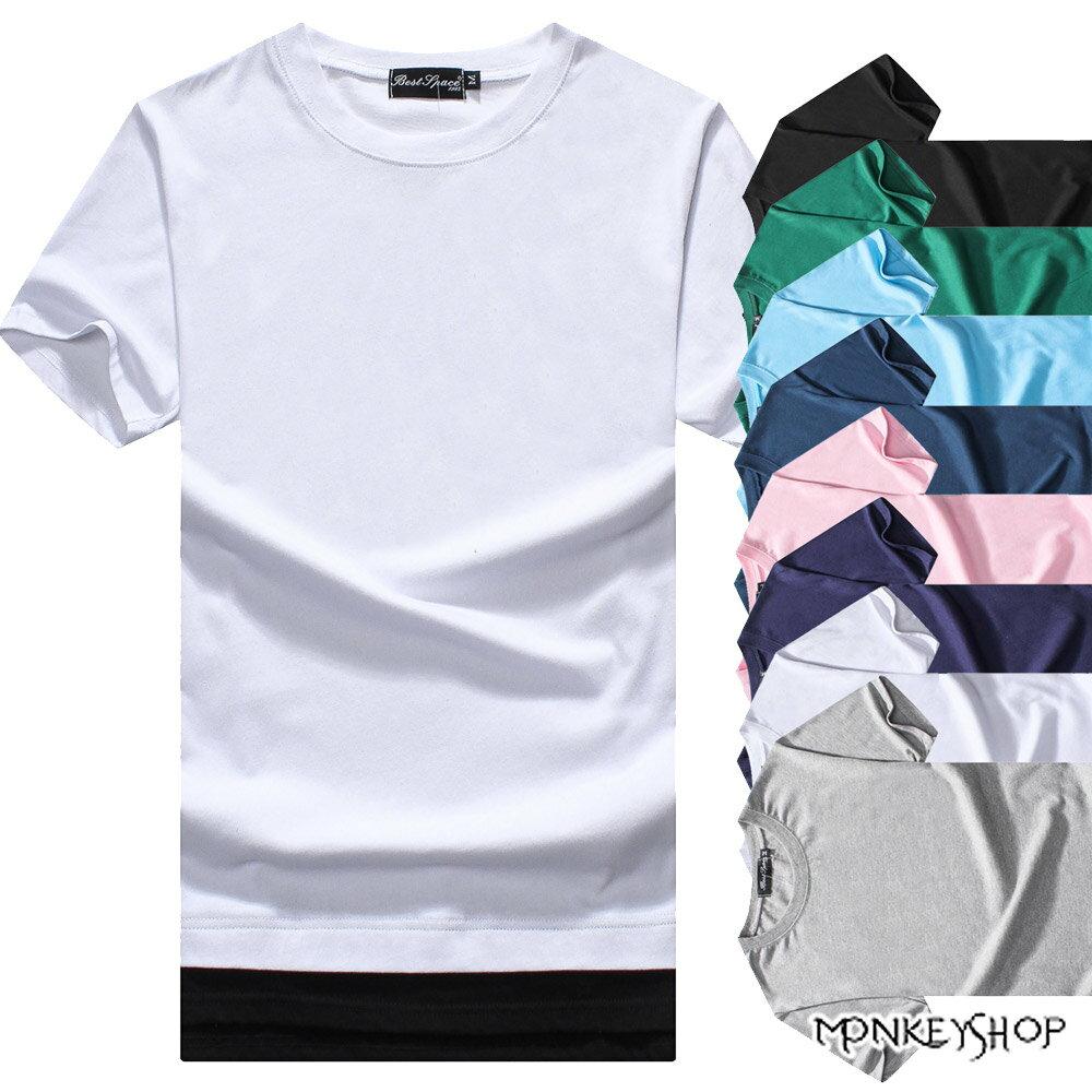 《Monkey Shop》【BJJ5395】MIT台灣製韓版簡約開衩假兩件短袖T恤-8色 0
