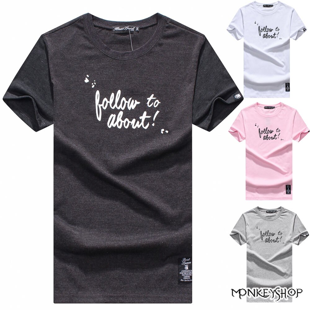 《Monkey Shop》【BJJ7302】台灣製follow草寫字母情侶短袖T恤-4色 0
