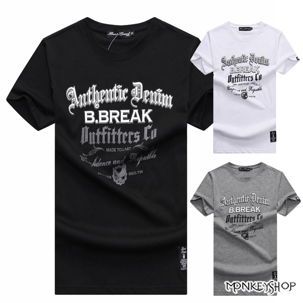 《Monkey Shop》【BJJ7362】台灣製Break英文印花情侶短袖T恤-3色 0