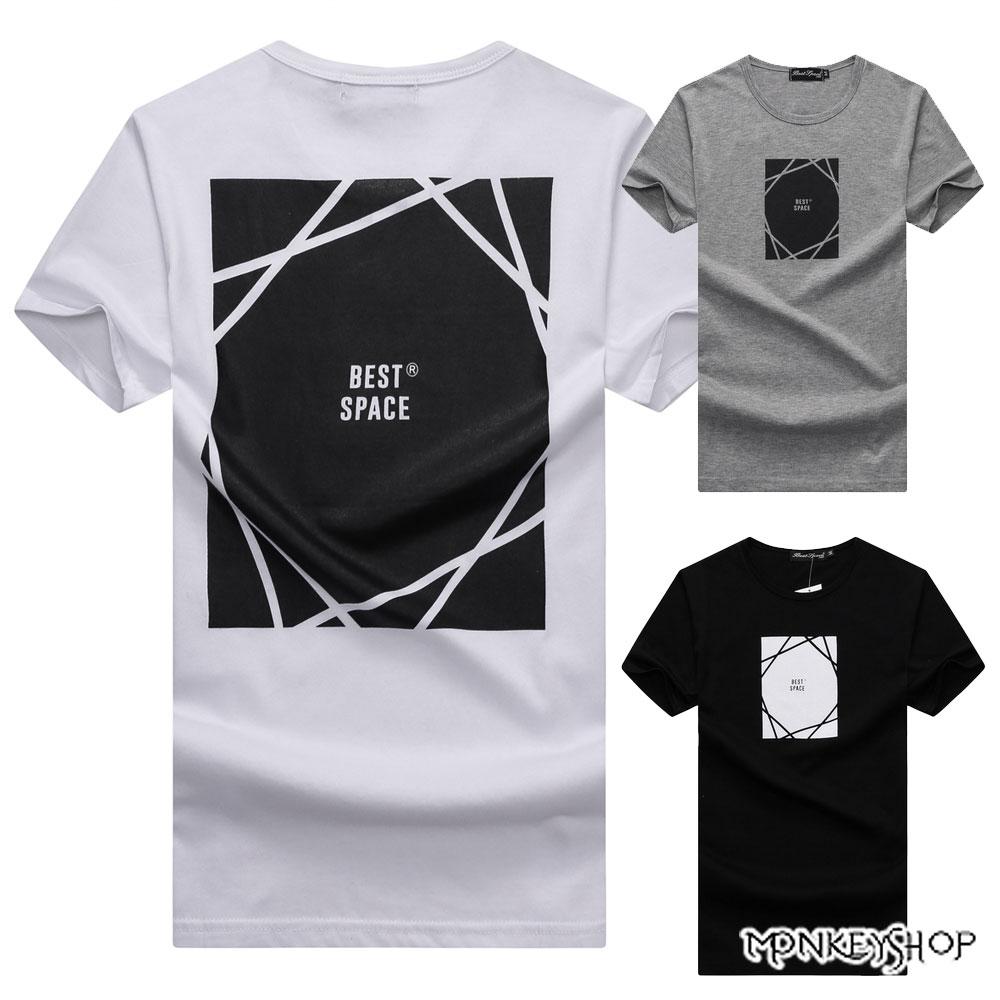 《Monkey Shop》【BJJ7396】台灣製best space方塊印花短袖T恤-3色 0