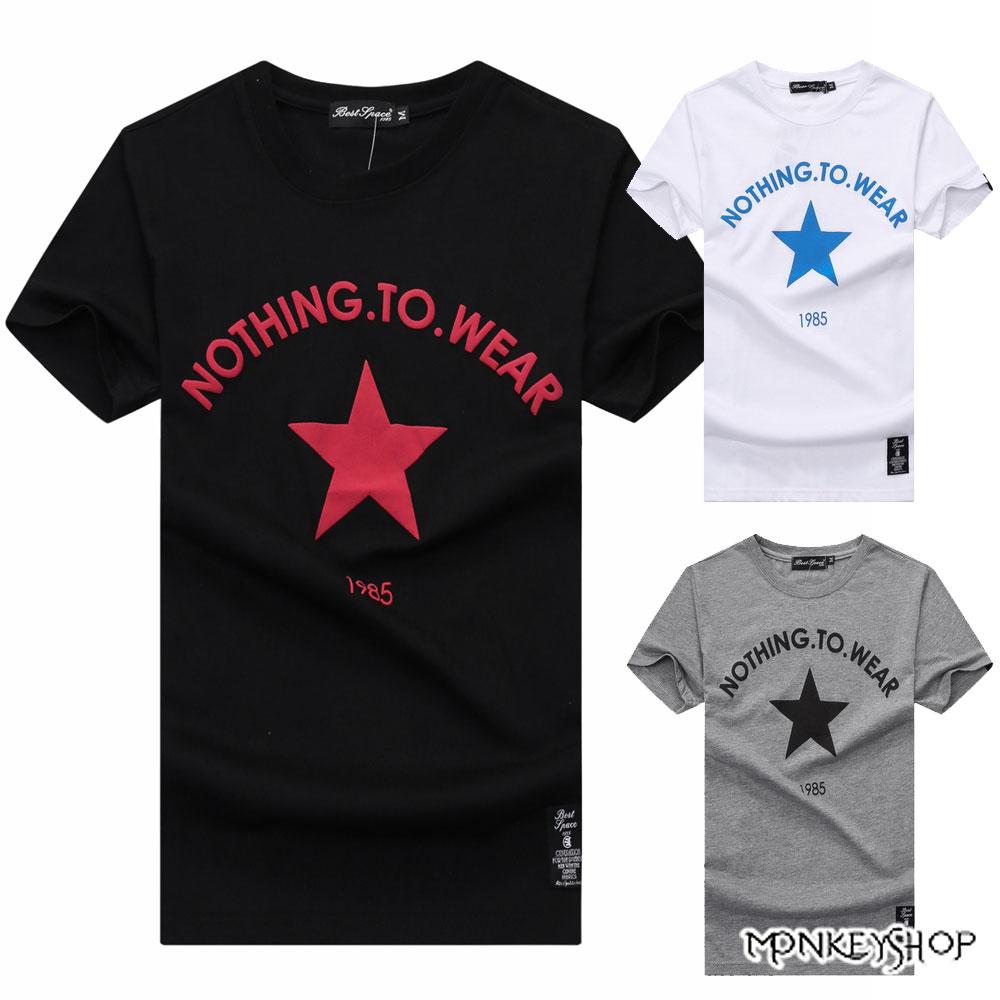 《Monkey Shop》【BJJ7413】台灣製鉛星星印花情侶短袖T恤-3色 0