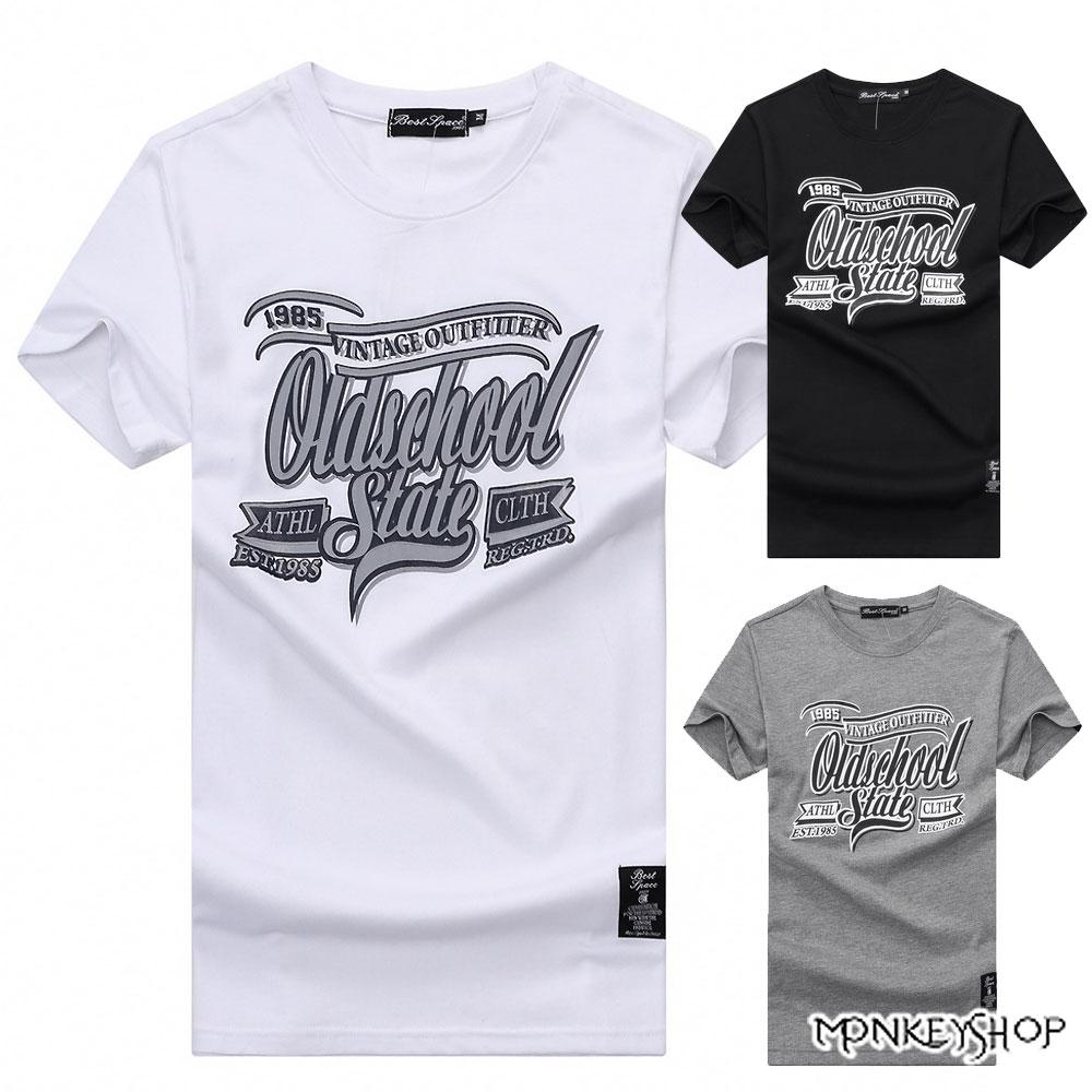 《Monkey Shop》【BJJ7431】台灣製美式英文印花情侶短袖T恤-3色 0