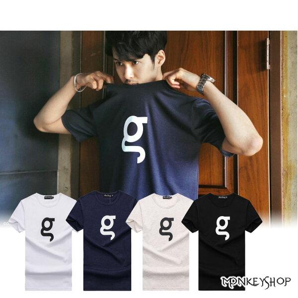 Monkey Shop:《MonkeyShop》【BJJ7610】台灣製G英文印花短袖T恤-3色