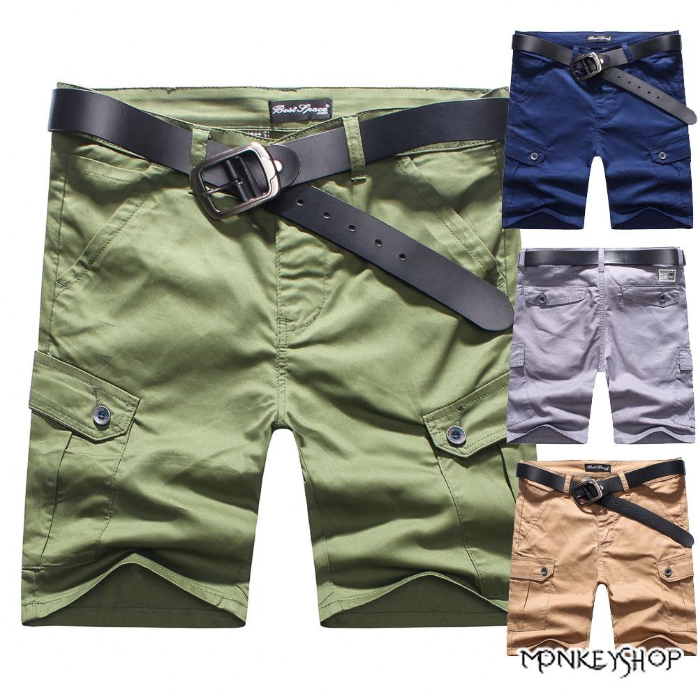 《Monkey Shop》【BJk3966】韓版潮流工作風大口袋五分短褲-5色 0