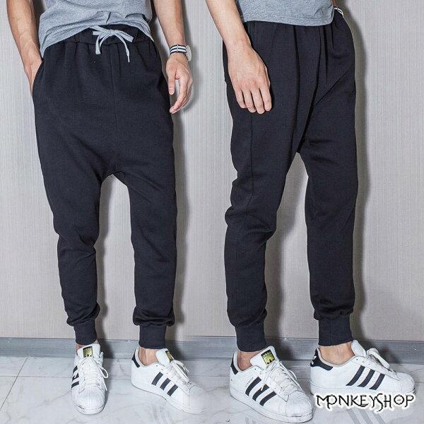 Monkey Shop:《MonkeyShop》【C9123】素面哈倫褲螺紋縮口棉質長褲