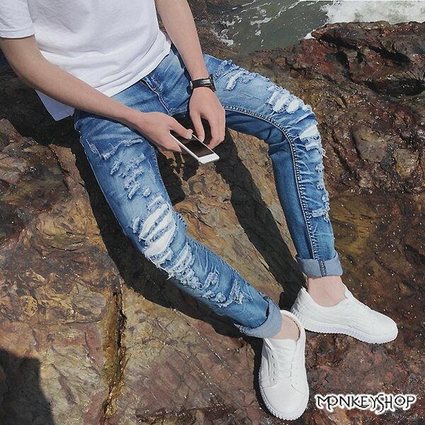 Monkey Shop:【M106】韓版修身刷色小破壞抽鬚單寧牛仔褲《MonkeyShop》