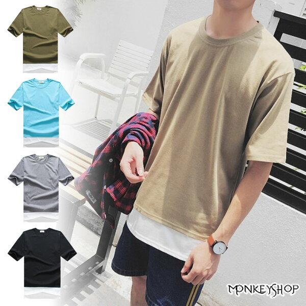 Monkey Shop:《MonkeyShop》【M20051】正韓國製假兩件拼接設計素面圓領短袖T恤-五色