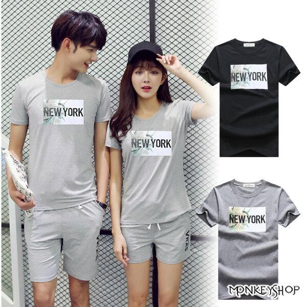 Monkey Shop:《MonkeyShop》【M20056】正韓國製情侶NEWYORK自由女神印花短袖T恤-2色