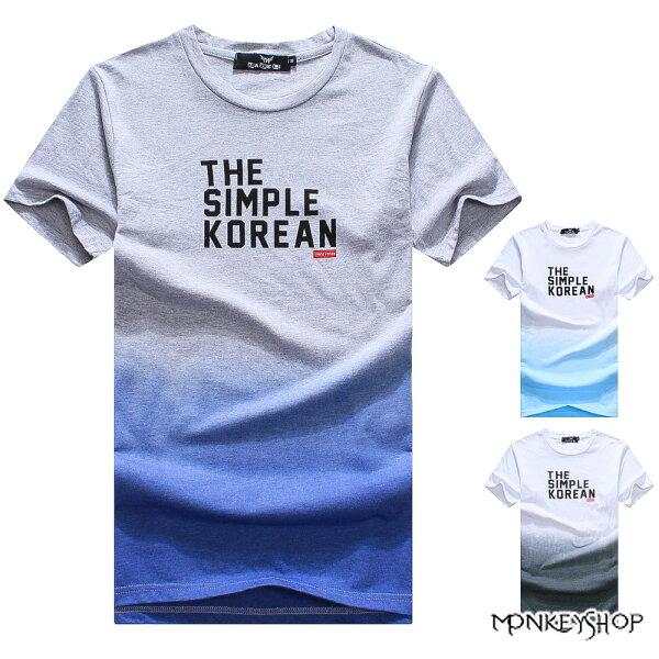 Monkey Shop:《MonkeyShop》【M50263】英文字母漸層印花圓領短袖T恤-3色