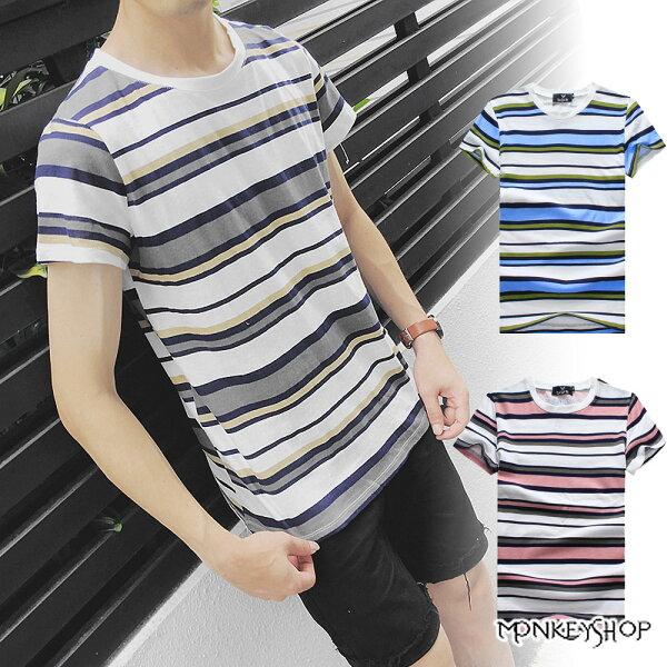 Monkey Shop:《MonkeyShop》【M50268】不規則三色條紋設計圓領短袖T恤-3色