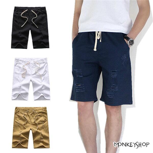 Monkey Shop:【M55603】抽繩塊狀割破設計休閒牛仔短褲-4色《MonkeyShop》