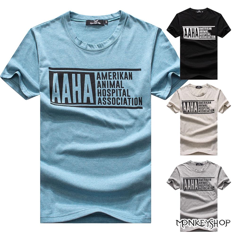 《Monkey Shop》【M60305】MIT 英文AAHA字母印花圓領短袖T恤-4色 0