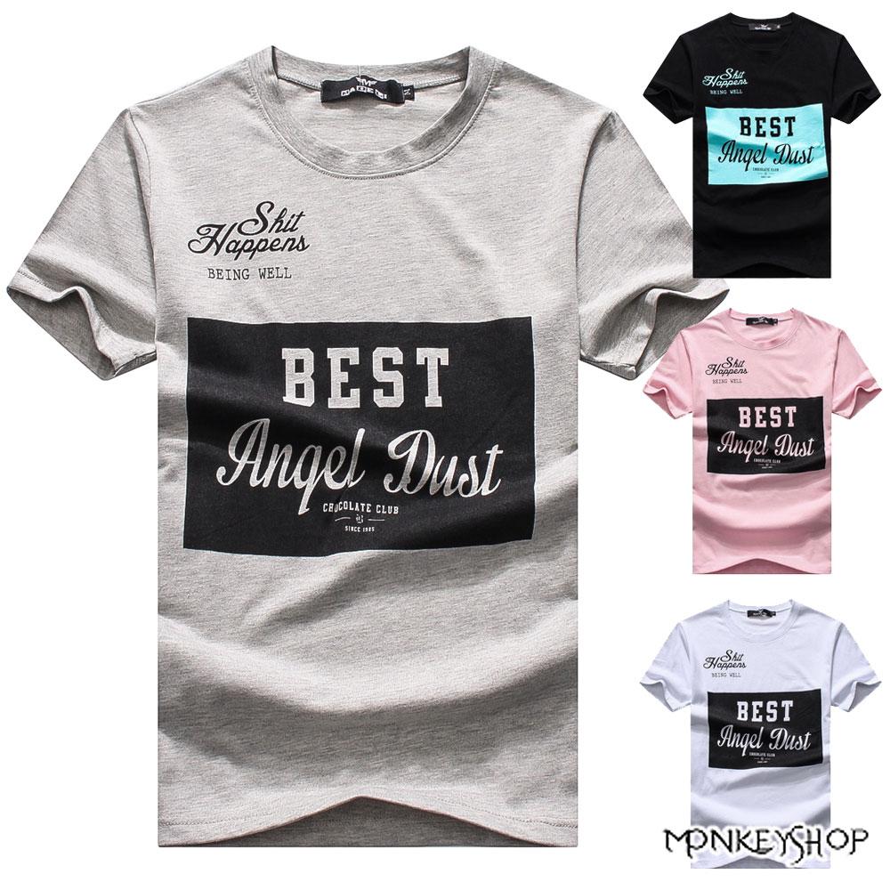 《Monkey Shop》【M60308】MIT台灣製ANQEL DUST草寫字母風短袖T恤-4色 0