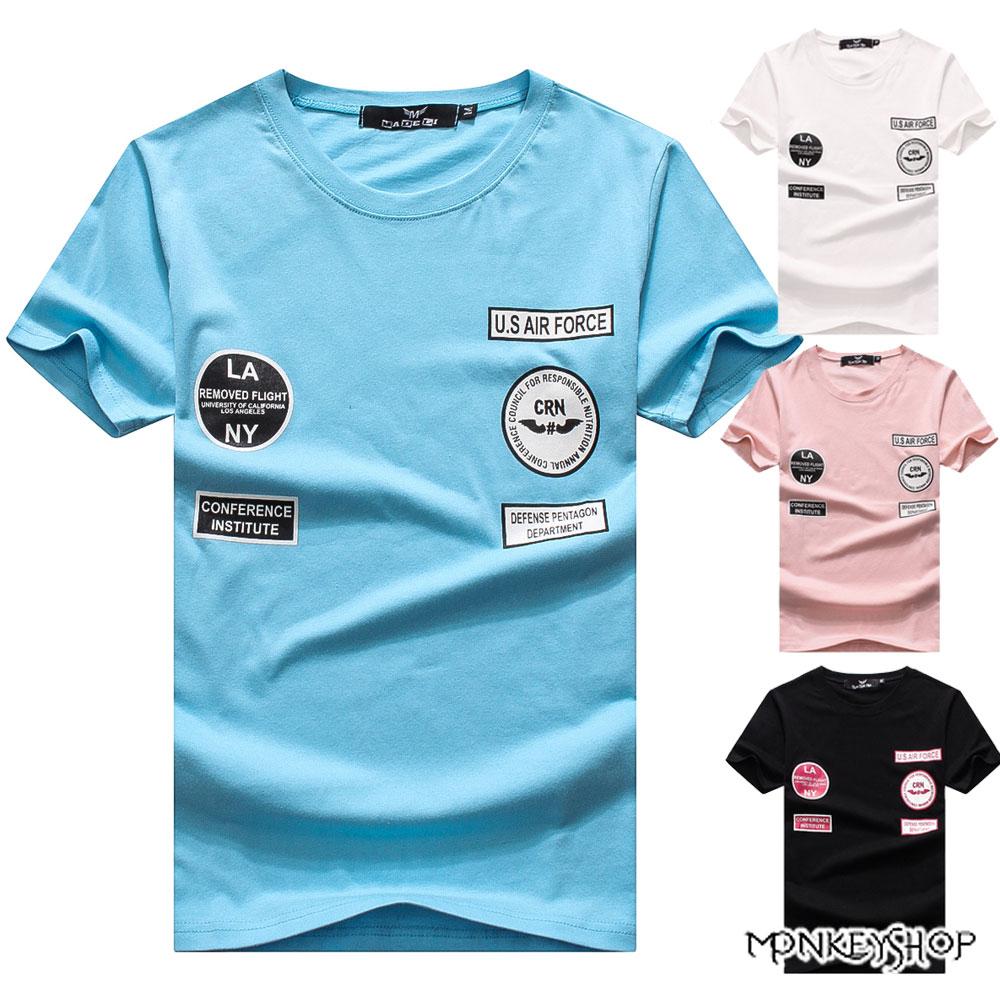 《Monkey Shop》【M60309】MIT台灣製美式布章混搭風短袖T恤-4色 0