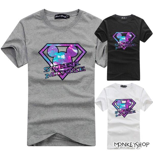 《MonkeyShop》【c3047】SUPERMOUSE潮流星空卡通印花MIT短袖T恤-3色