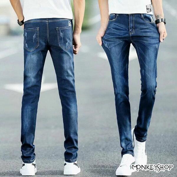 《MonkeyShop》【MYB5501】摺痕刷色口袋割破設計彈性牛仔長褲